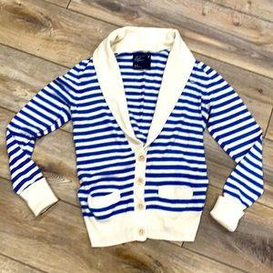 AMERICAN EAGLE Blue & Cream Striped Sweater Cardigan